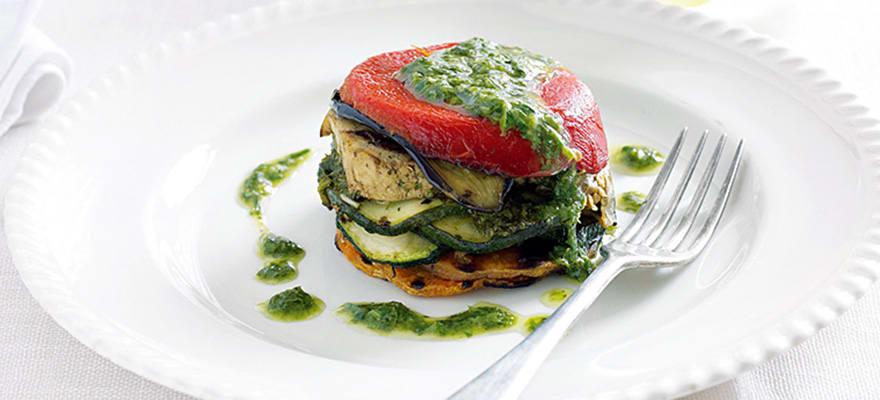 Tofu vegetable stack with lemon herb sauce image 1