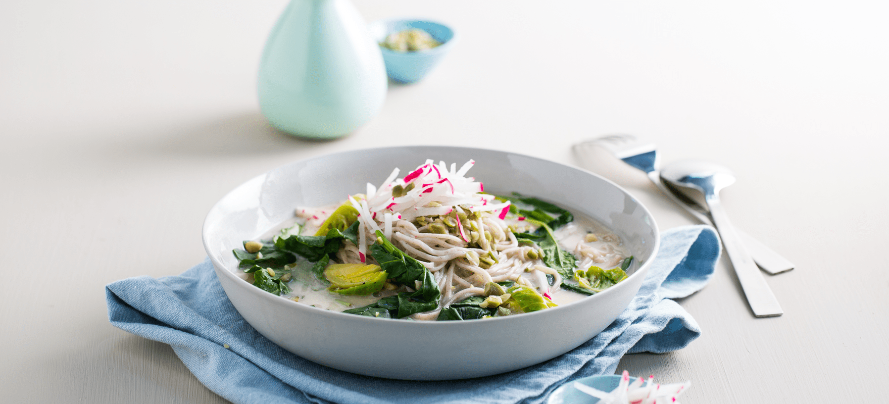 Soba noodle and green vegetable bowl image 1