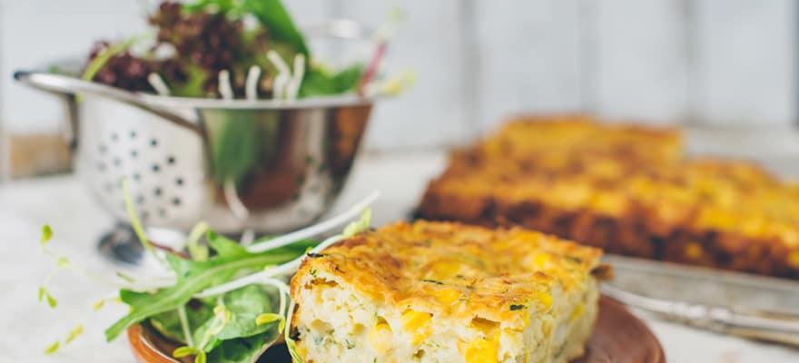 Zucchini and corn frittata slice image 2