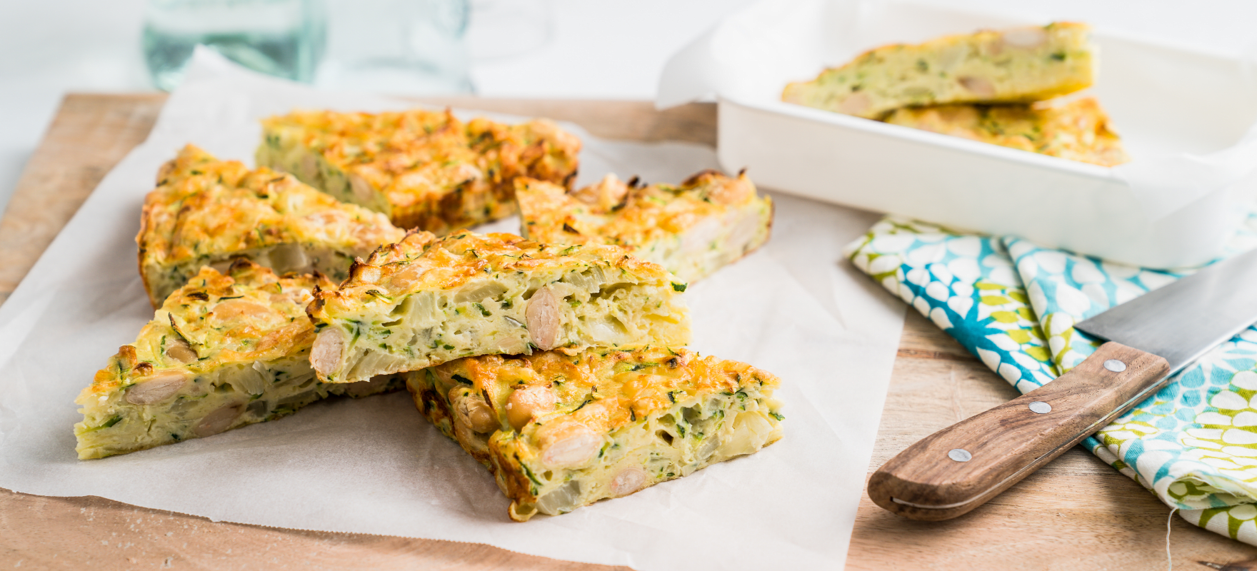 Courgette slice with butter beans image 1