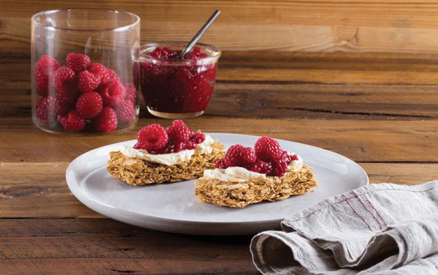Raspberries and cream cheese on Weet-Bix™ image 1