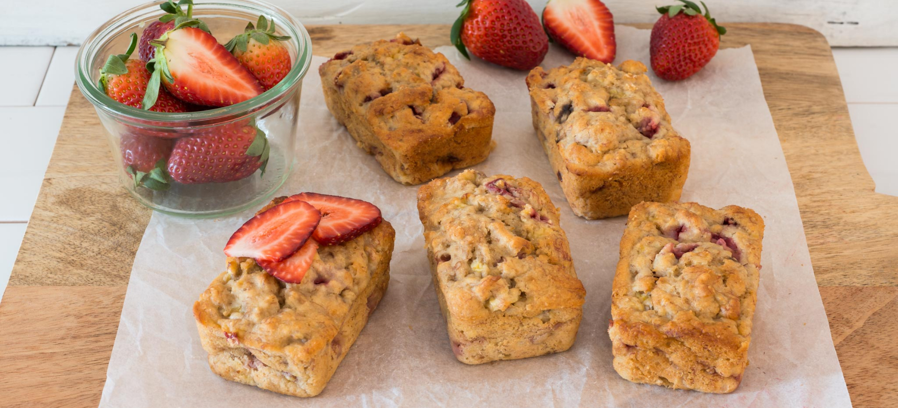 Mini banana and strawberry loaves image 1
