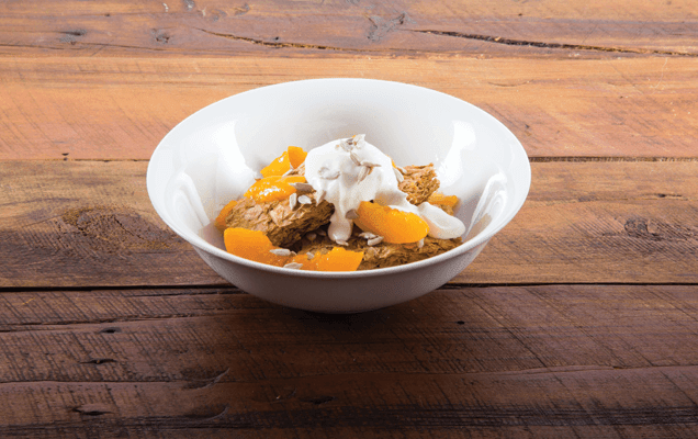 Weet-Bix™ with peaches, sunflower seeds and yoghurt image 1