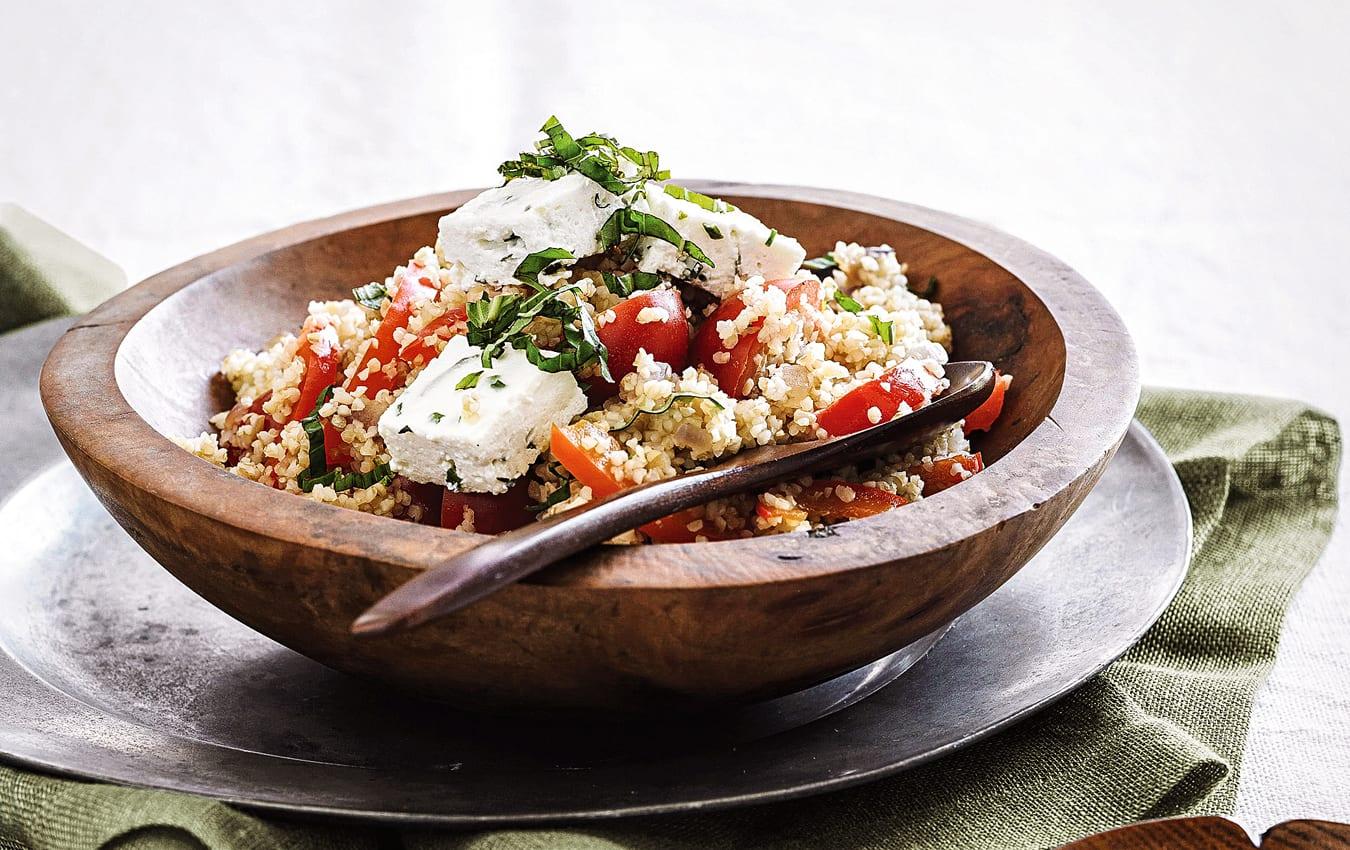 Warm capsicum, tomato, burghul and baked ricotta salad image 1