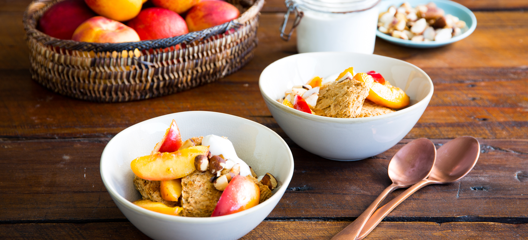 Weet-Bix™ with poached nectarines and toasted brazil nuts image 1