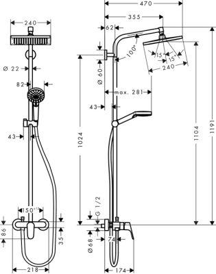 Hansgrohe Crometta E 240 1jet Showerpipe