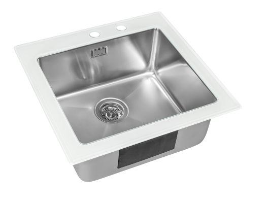 Кухонная мойка ZorG GS 5553 white со стеклом