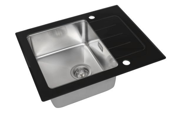 Кухонная мойка ZorG GS 6250 black со стеклом