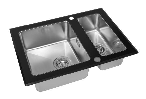 Кухонная мойка ZorG GS 6750-2 black со стеклом