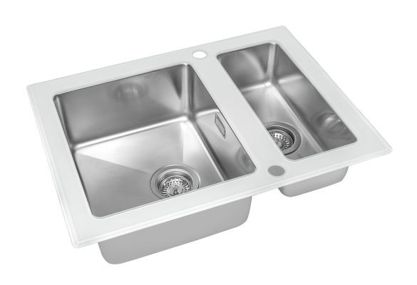 Кухонная мойка ZorG GS 6750-2 white со стеклом