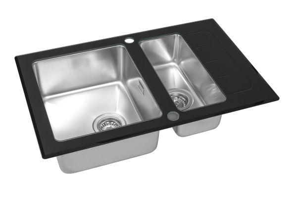 Кухонная мойка ZorG GS 7850-2 black со стеклом