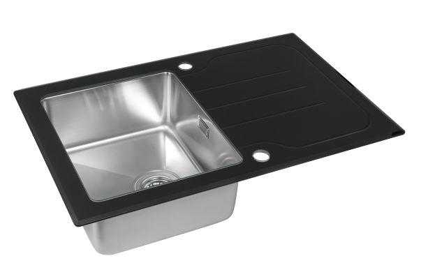 Кухонная мойка ZorG GS 7850 black со стеклом