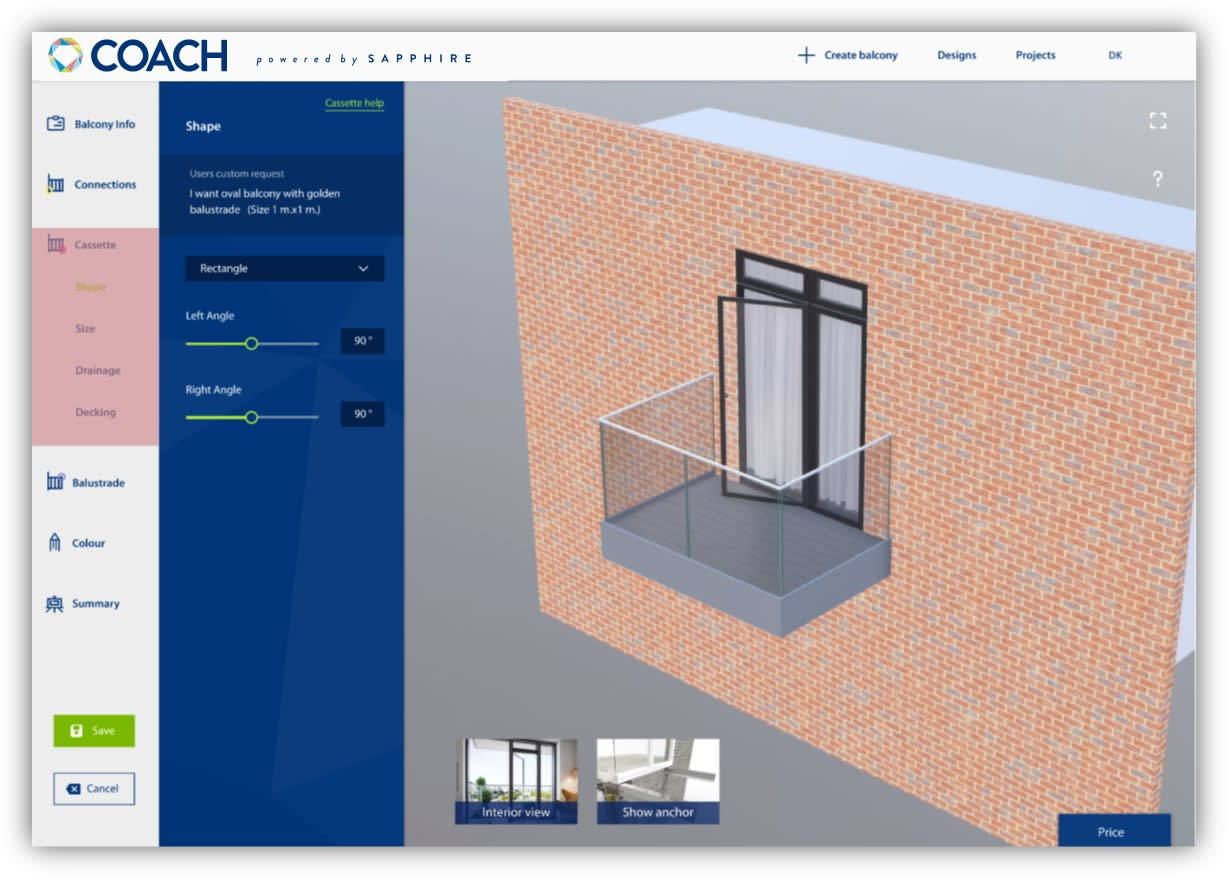 COACH balcony software editing in 3D BIM view