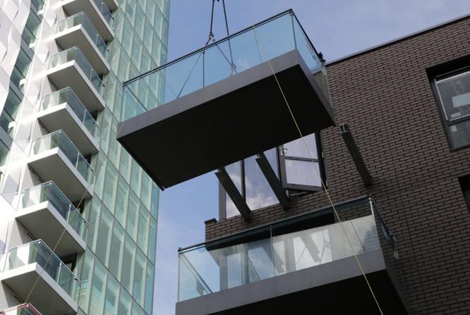 glazed balcony Cassette installation demonstrating glide-on balconies