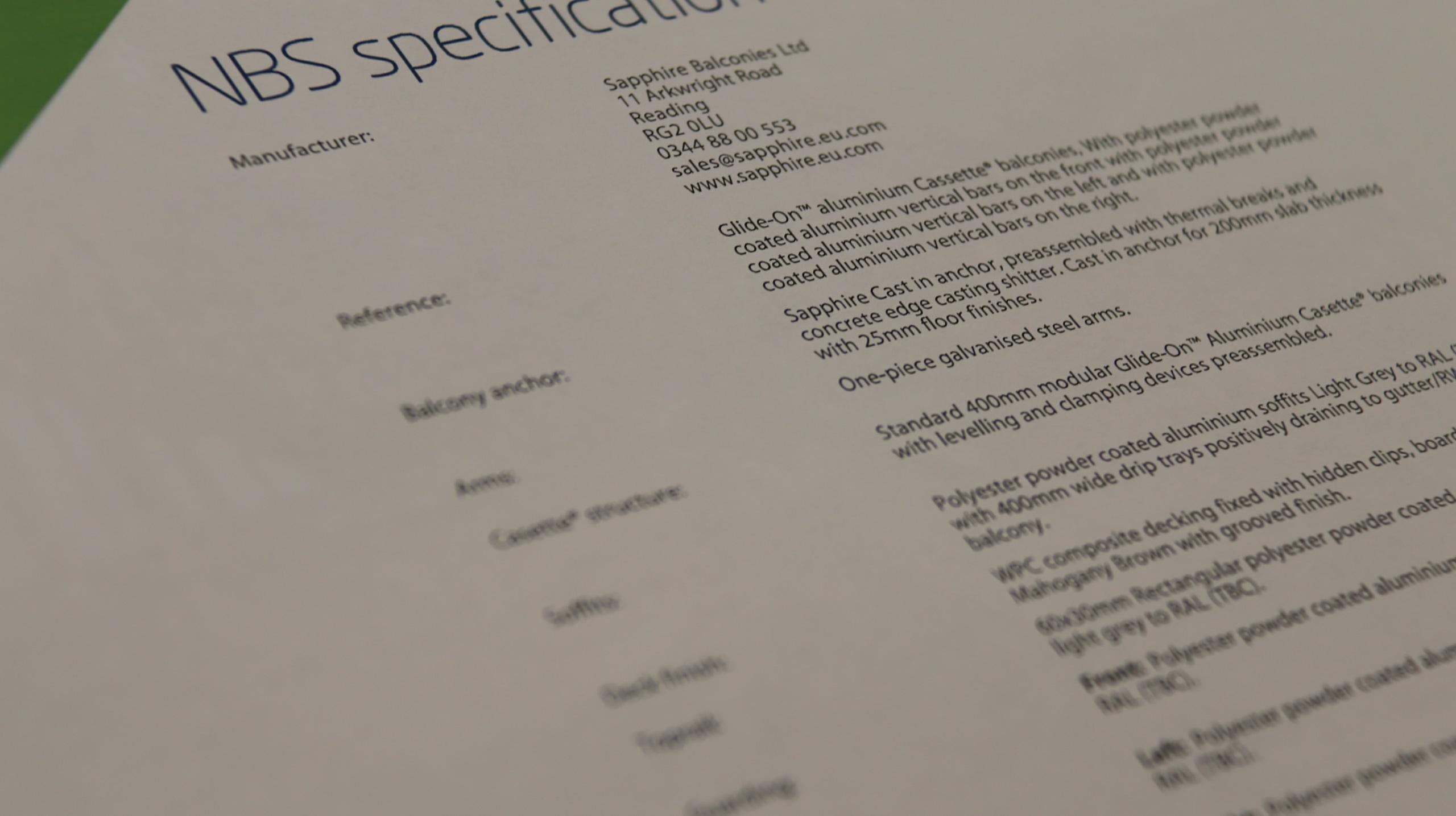 NBS – Balcony Specification