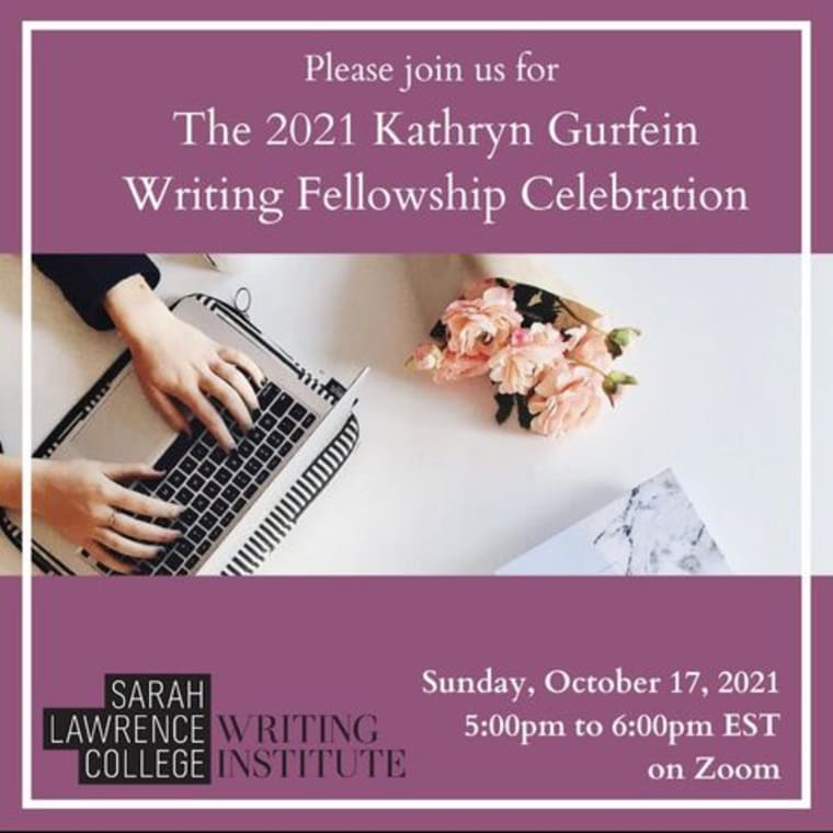 Next week! 📆 We've got two virtual events for the Writing Institute community. Join us this Sunday 10/17 for a celebration of the Kathryn Gurfein Writing Fellowship, presented by the Writing Institute at Sarah Lawrence College 💐 Featuring 2020 recipients @mgcolangelo + Lori McLaughlin, plus the announcement of the 2021 recipient! On Thursday 10/21, don't miss the October Community Reading (our first one this fall! 🍁) Sign up to read or come to support fellow writers. All are welcome! Link in bio for both events 💻
