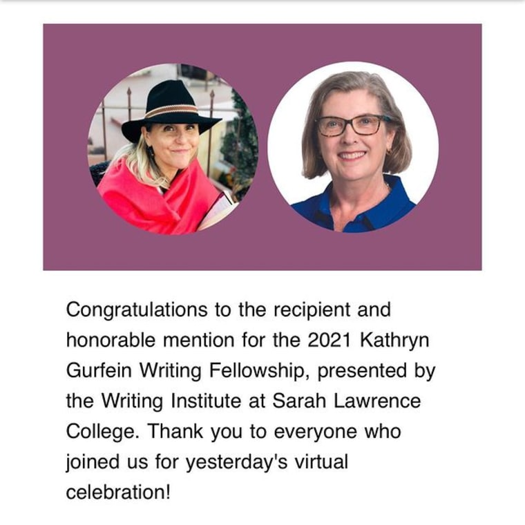"""Congratulations to the 2021 recipient and honorable mention for the Kathryn Gurfein Writing Fellowship, presented by the Writing Institute at Sarah Lawrence College. Lorraine Gengo, author of """"Tigerjack"""" Recipient of the 2021 Kathryn Gurfein Writing Fellowship Linda Rhodes, author of """"Lady Cow Vet"""" Honorable Mention, 2021 Kathryn Gurfein Writing Fellowship Since 2006, this unique opportunity has provided a year of mentorship to writers for a project of their choosing. The judges were impressed by the high caliber of writing from every applicant. Learn more about the Gurfein Writing Fellowship at the link in our bio. Huge thanks to everyone who attended yesterday's virtual reading and celebration, especially @mgcolangelo, Lori McLaughlin, Marian Thurm, David Ryan and @kathygurfein."""