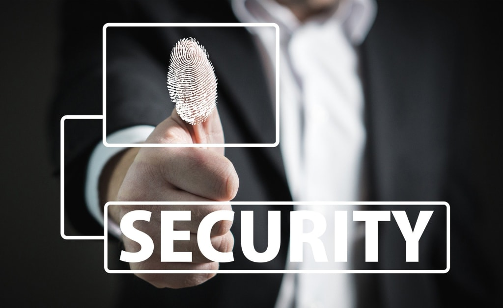 A fingerprint lock shows a high security.