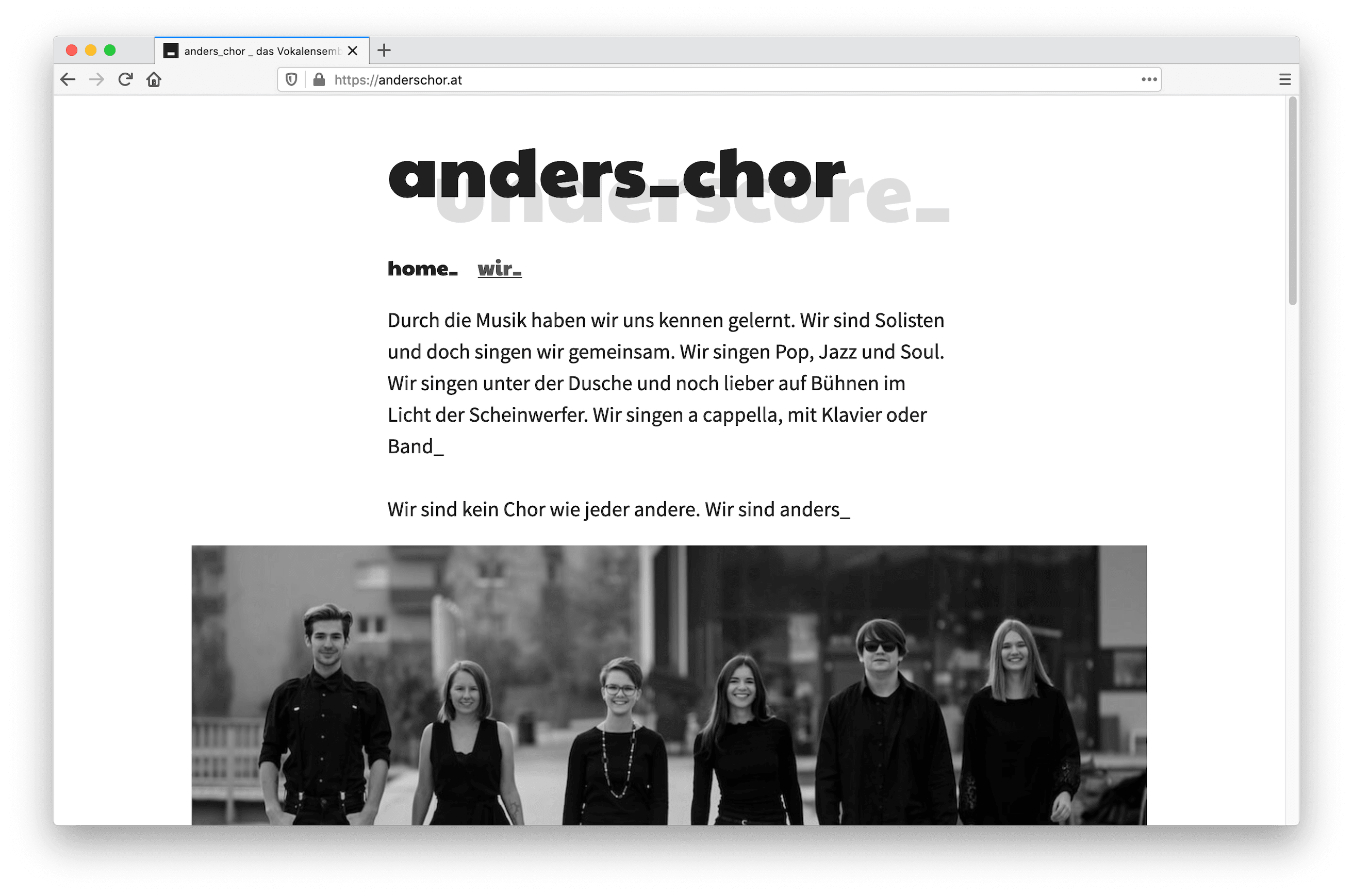 anders_chor Website screenshot