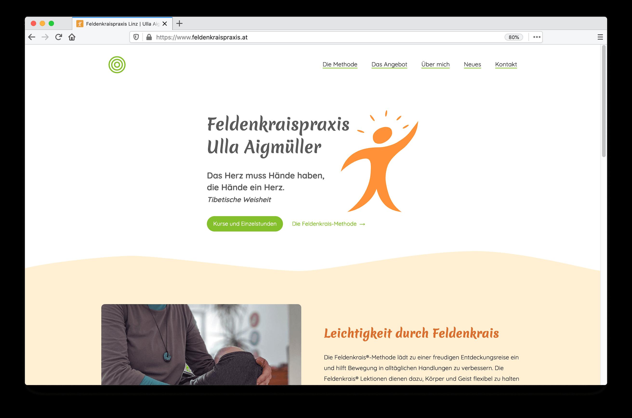 Feldenkraispraxis Homepage screenshot