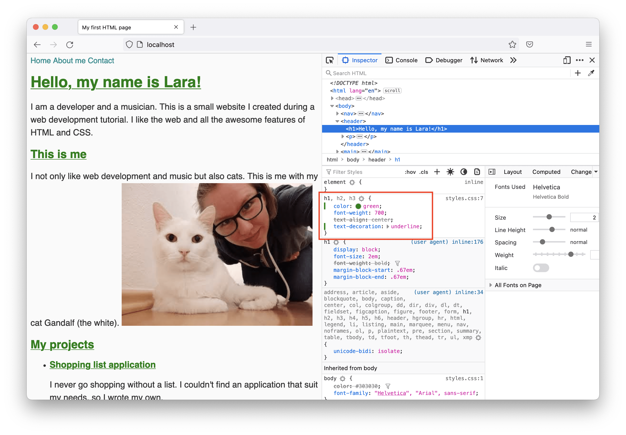 The index page in the browser with dev tools opened. The page's h1 headline is selected and styles are shown in Firefox developer tools. Styles have been updated direclty in dev tools.