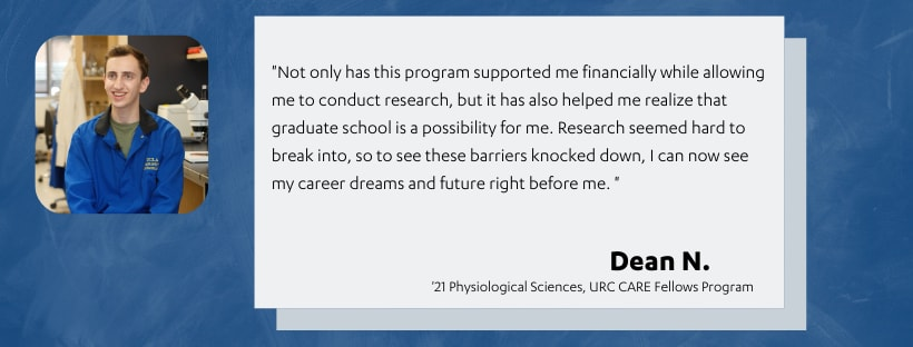Depicts image of CARE Fellows student Dean N. and their research experiences