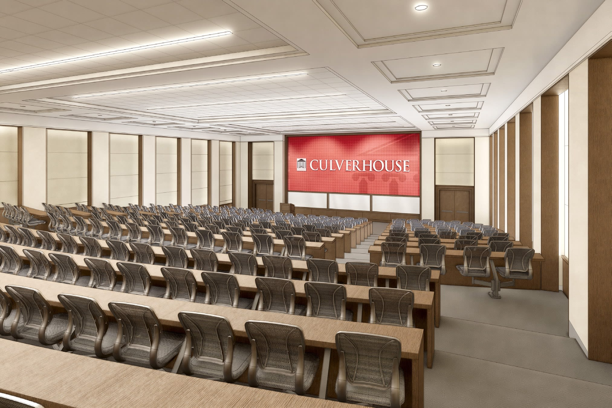 Hewson Hall, rednering of main lecture room