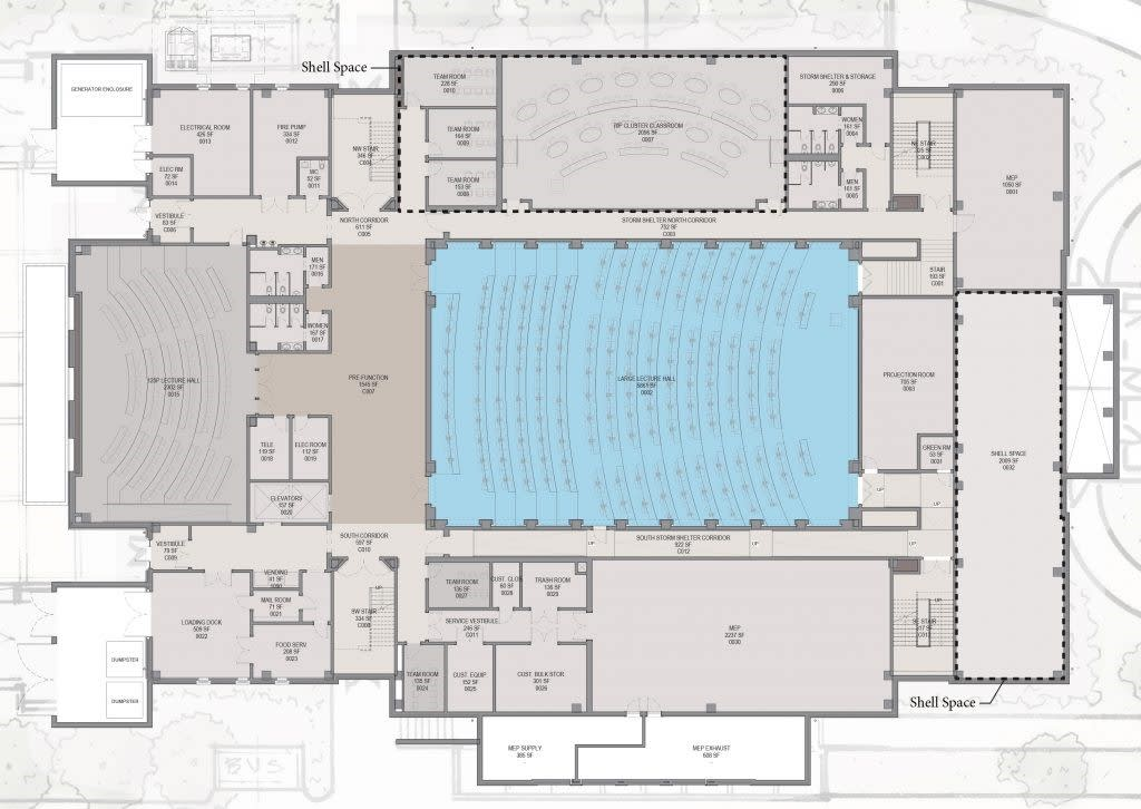 Hewson Hall, ground floor design plans