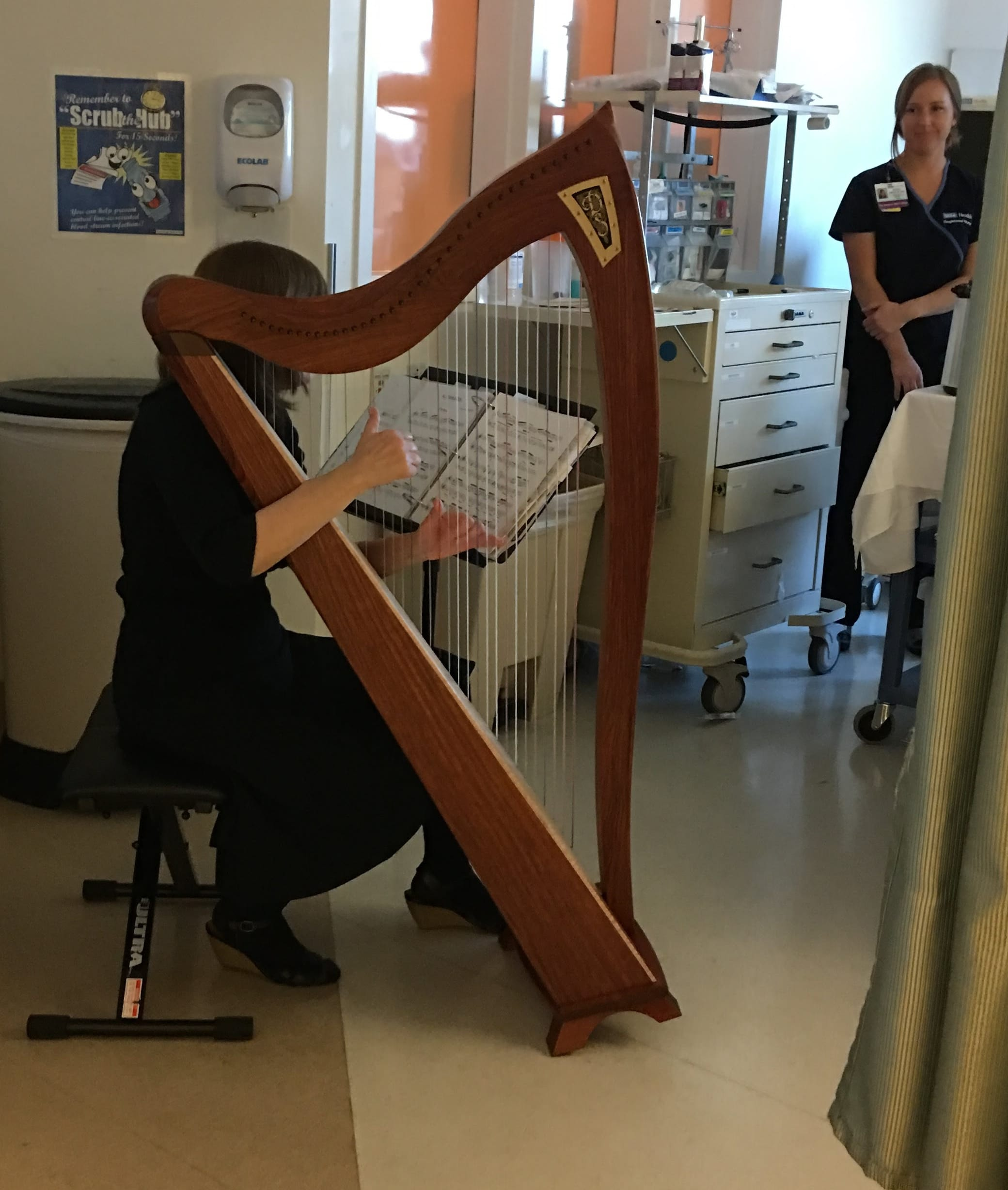 Harpist Playing Music to Patient