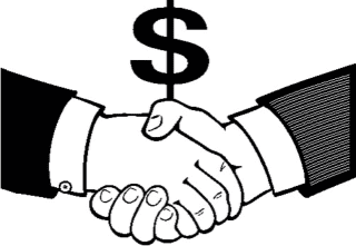 Image:  Shaking Hands with Dollar sign representing a donation.