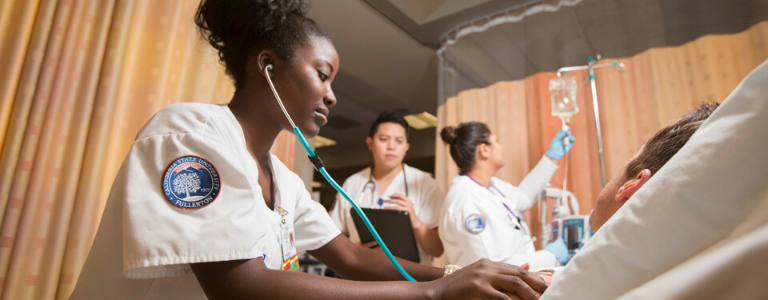 nursing student with stethoscope