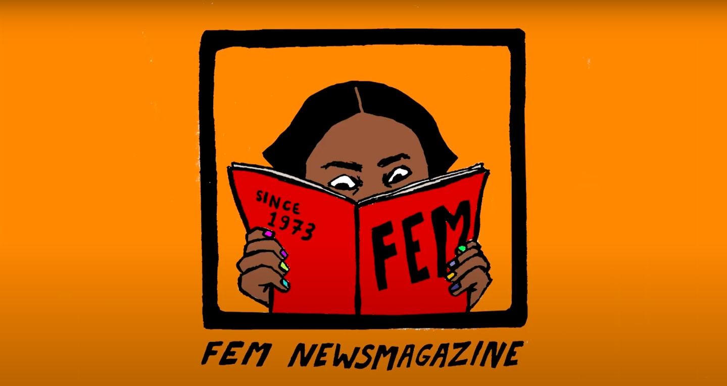 A figure reading FEM Newsmagazine in front of an orange background