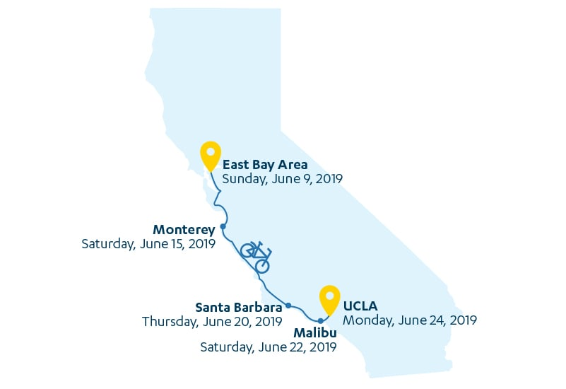 CA Map with event dates