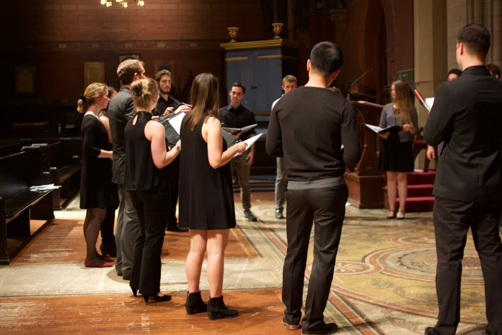 Rehearsing in Sage Chapel