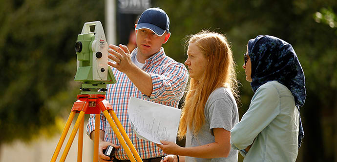 Engineering students learn about surveying