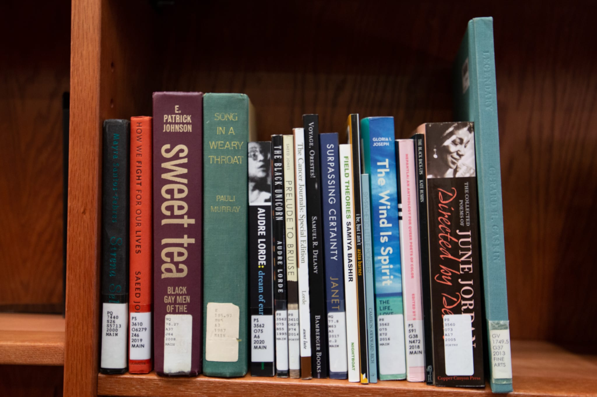 Several books from the Black Queer Studies Collection are displayed on a wooden library shelf.