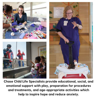 Chase Child Life Specialists provide educational, social, and emotional support with play, preparation for procedures and treatments, and age-appropriate activities which  help to inspire hope and reduce anxiety.