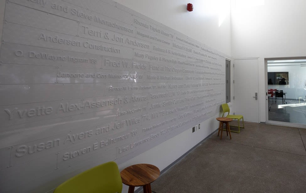 The Lyllye Reynolds-Parker Black Cultural Center donor wall.