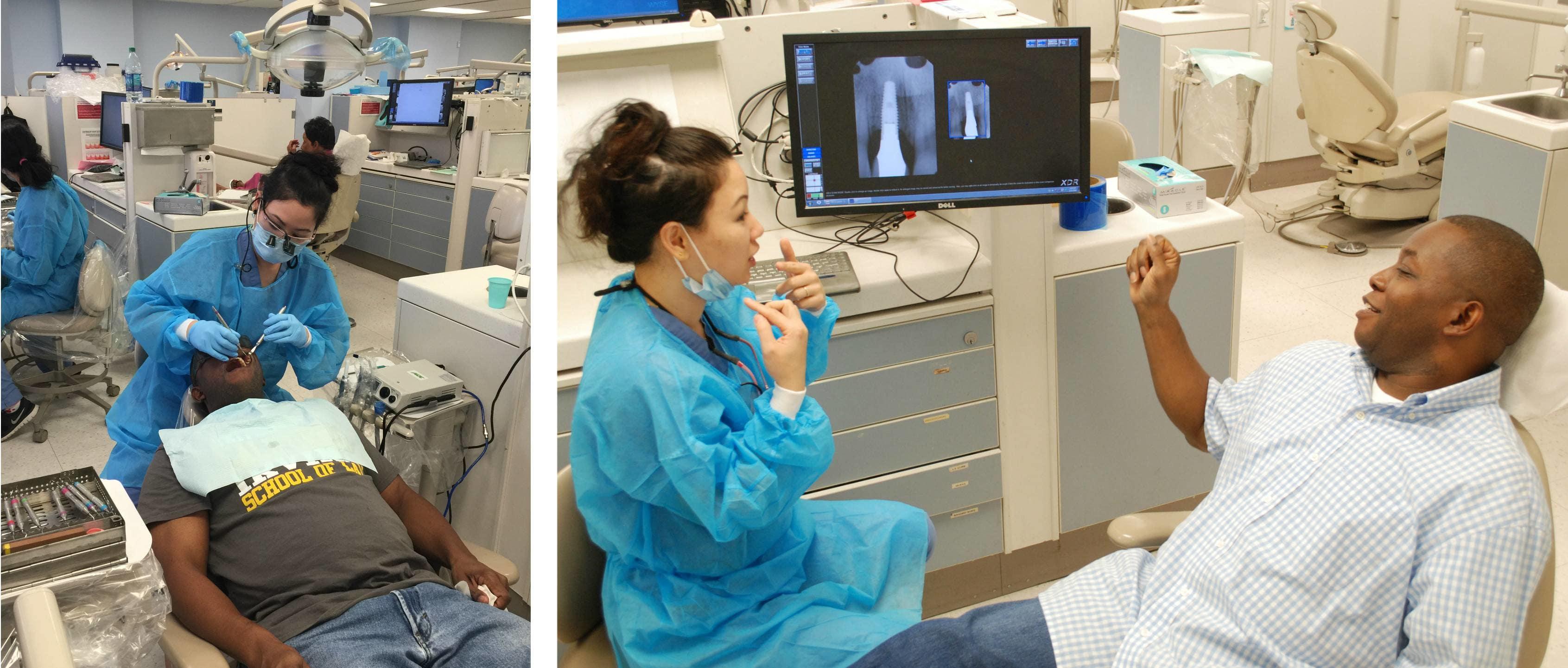 UCLA student dentist Tigon Abalos sees an Operation Bruin Smiles patient, UCLA student veteran Rodrick F.