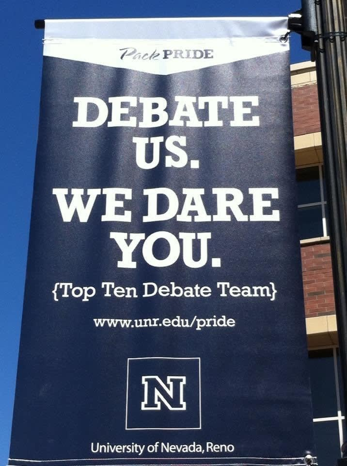 Debate Team Banner on campus