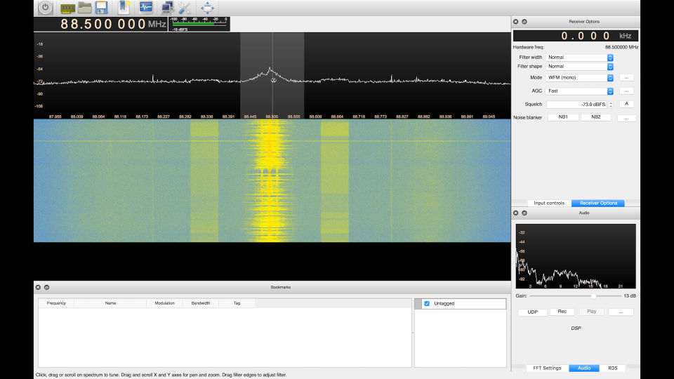 GQRX, software for analyzing radio signals