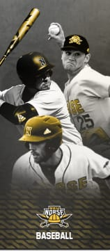 NKU Norse Baseball. Three players overlapping each other, one pitching, one batting, and one running.