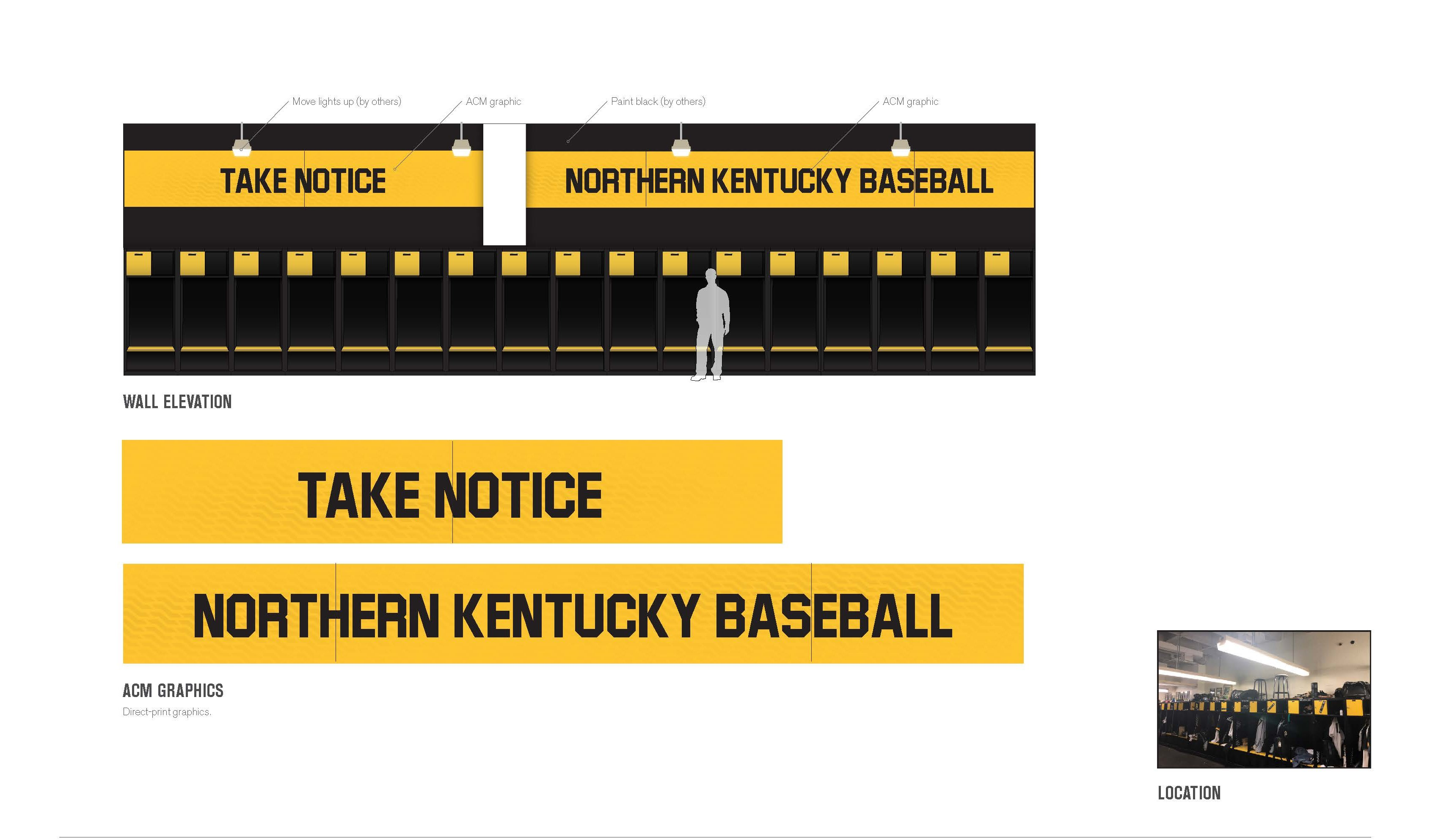 "graphic detailing future plans for the baseball locker room. ""take notice"" and ""Northern Kentucky baseball"" adorn the wall above the lockers"