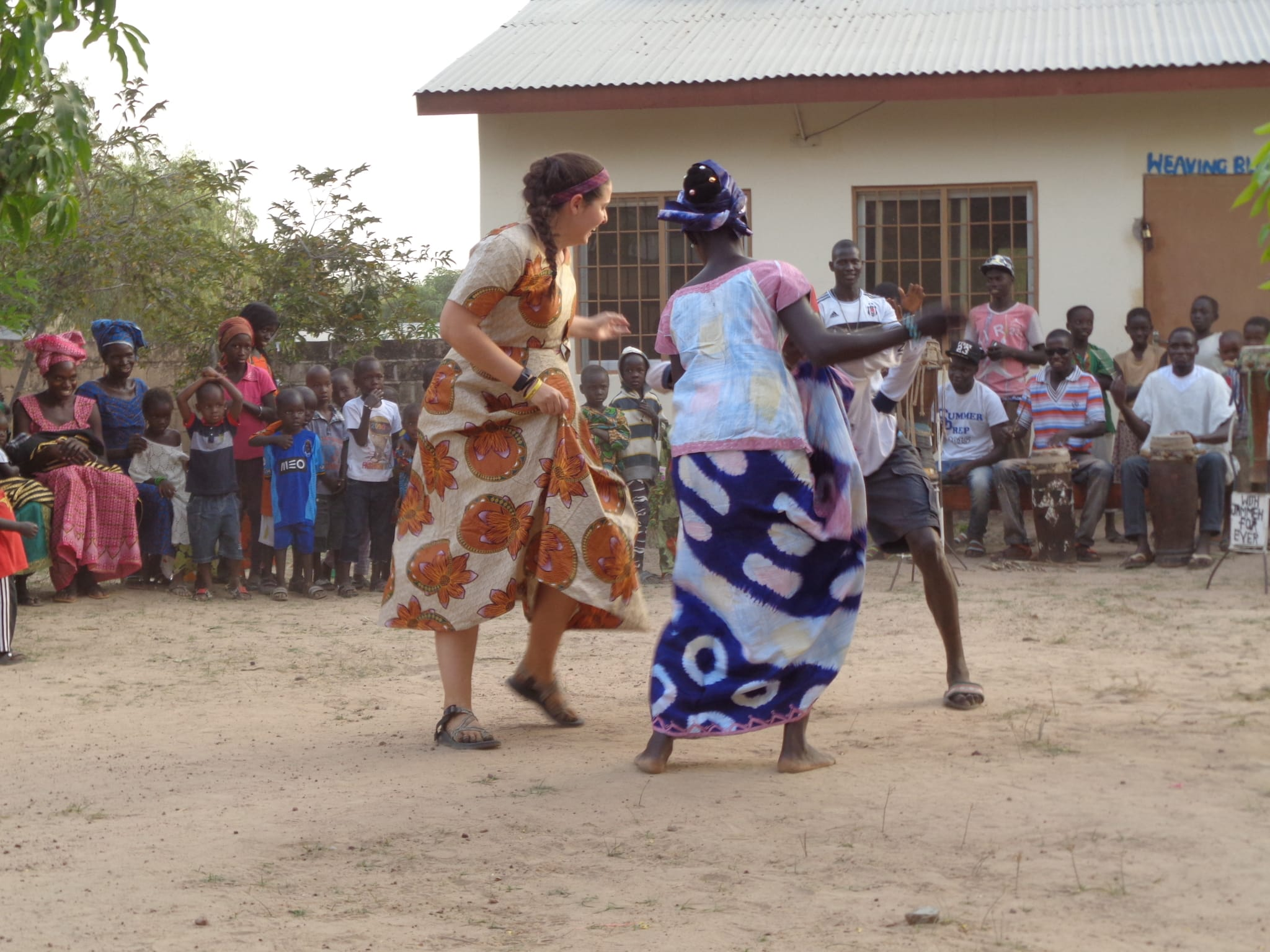 Emily Aebker, the International Project Lead, strengthened her relationship with the community by joining in their dancing.