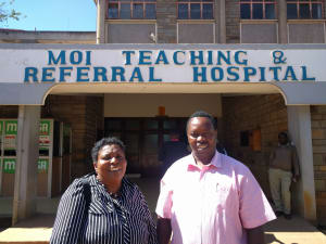 Isabel and Kenyan dermatologist Dr. Kiprono Samson at Moi Hospital