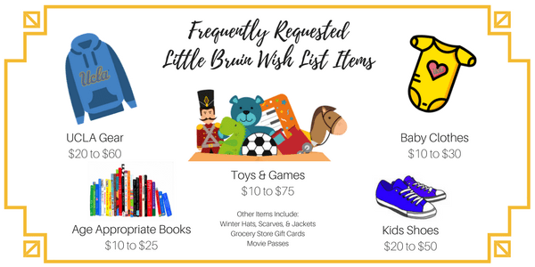 Frequently Request Little Bruin Wish List Items include Toys & Games, UCLA Gear, Baby Clothes, Kids Shoes, Books, & much more