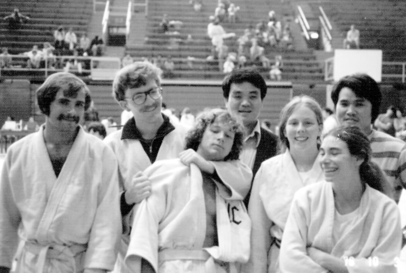 Photo from the 1970s of Dr. Min with six judo students.
