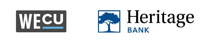 WECU, Heritage Bank Logos