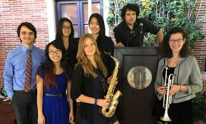 A GME chamber group was invited to play at Gene D. Block's residence for the Student Achievement Reception 2016