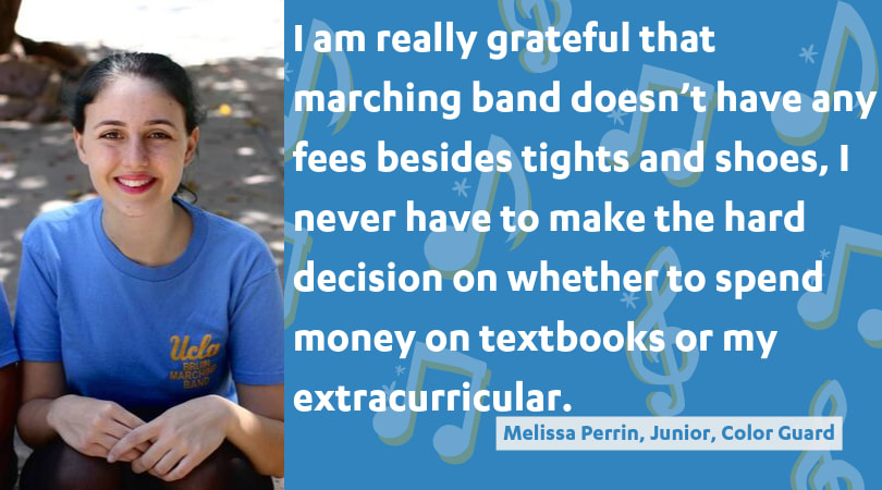I am really grateful that marching band doesn't have any fees besides tights and shoes, I never have to make the hard decision on whether to spend money on textbooks or my extracurricular.